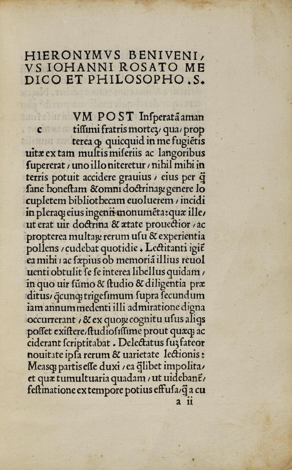 BENIVIENI, ANTONIO. 1443-1502.  De abditis nonnullis ac mirandis morborum et sanationum causis.  Florence: Filippo Giunta, 1507.