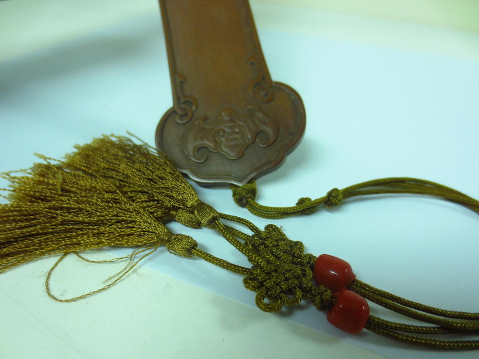 A fine bamboo veneer ruyi scepter Qing Dynasty