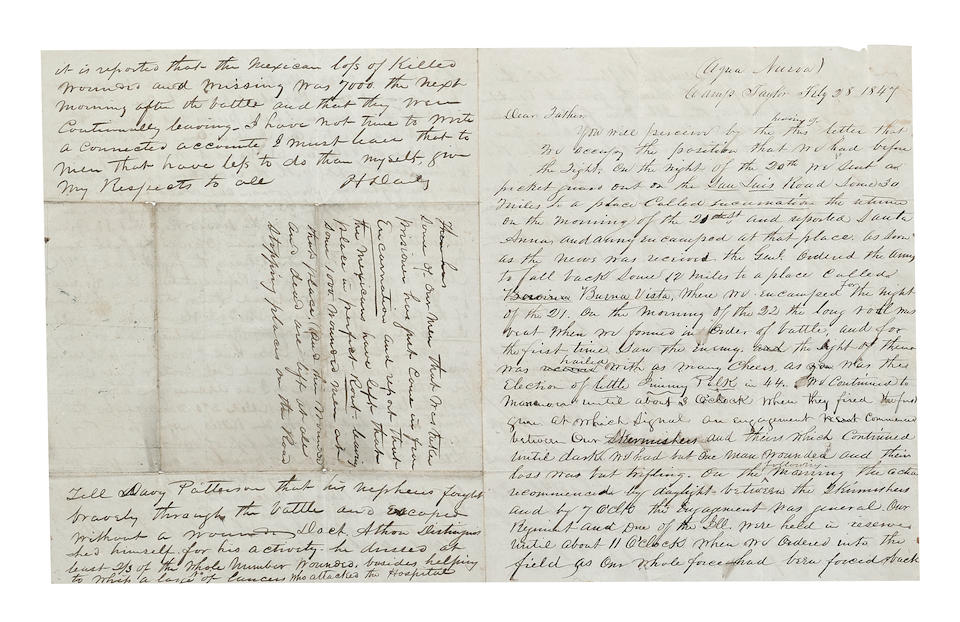 BATTLE OF BUENA VISTA: EYEWITNESS ACCOUNT AND HAND-DRAWN MAP. Autograph Letter Signed of H. Daily, 4 pp recto and verso,