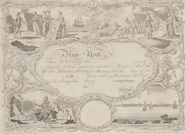 MARINE SOCIETY OF NEW YORK, 18TH CENTURY ENGRAVING. NEW YORK MARINE SOCIETY.  London: Morrison Sculpt., Moorfields, c.1770.