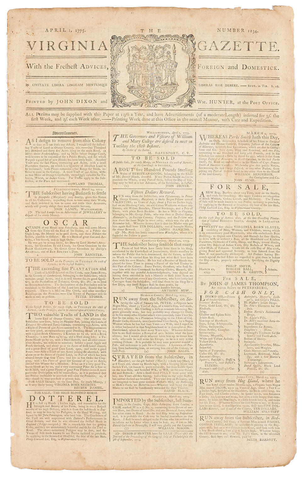 """ONLY CONTEMPORARY REPORT OF PATRICK HENRY'S FAMOUS """"GIVE ME LIBERTY OR GIVE ME DEATH"""" SPEECH TO VIRGINIA CONVENTION. Virginia Gazette, no 1234.   [Richmond]: John Dixon and Wm. Hunter, April 1, 1775."""