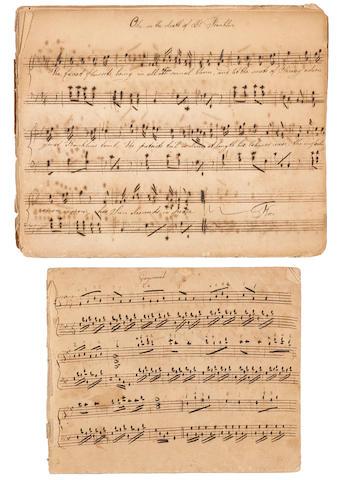 EARLY AMERICAN MUSICAL MANUSCRIPTS. 2 Holograph Musical Manuscripts,