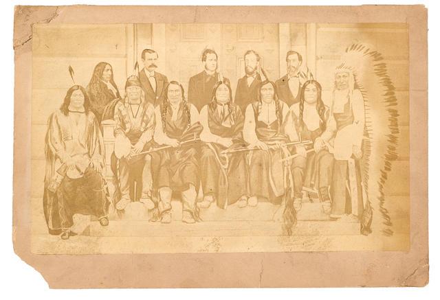 SIOUX INDIANS IN WASHINGTON. MANN, M.E.  Imperial albumen print photograph, 6 1/2 x 10 3/4 inches (156 x 275 mm)