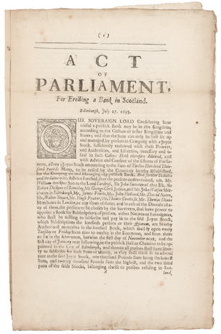 BANK OF SCOTLAND. Act of Parliament, For Erecting a Bank in Scotland.  Edinburgh: Heirs and Successors of Andrew Anderson, Printer to the Kings Most Excellent Majesty, 1695.