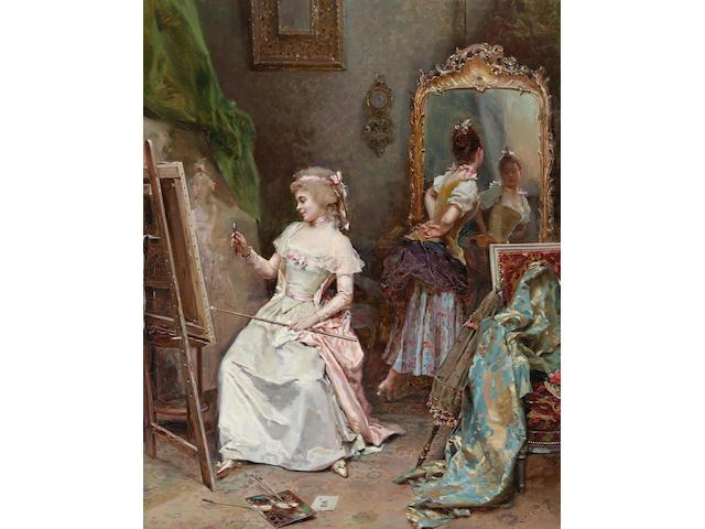 Raimundo de Madrazo y Garreta (Spanish, 1841-1920) La pintora en su estudio 27 3/4 x 22in (70.5 x 55.9cm)