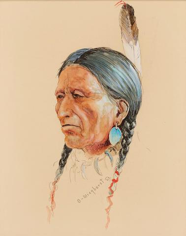 Olaf Carl Wieghorst (1899-1988) Indian Head Portrait 12 x 10in
