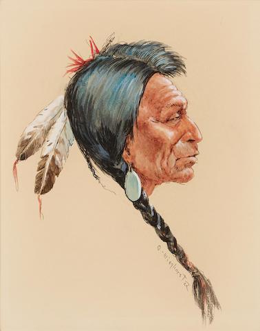 Olaf Carl Wieghorst (1899-1988) Indian Portrait Profile 12 x 10in
