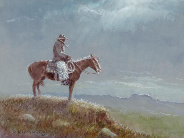 Olaf Carl Wieghorst (1899-1988) Nighttime Cowboy 13 x 15in