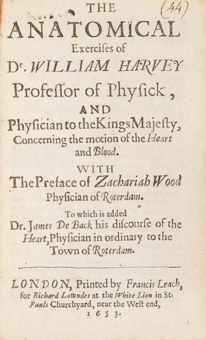 HARVEY, WILLIAM. 1578-1657. AND ZACHARIAH SYLVIUS. 1608-1664. The anatomical exercises of Dr. William Harvey ... concerning the motion of the heart and blood. WITH: SYLVIUS, ZACHARIAH. The preface ... upon the anatomical exercises of Doctor William Harvey. WITH: DE BACK, JACOBUS. The Discourse.  HARVEY, WILLIAM. Two anatomical exercitations concerning the circulation of the blood. London: Francis Leach, for Richard Lowndes, 1653.