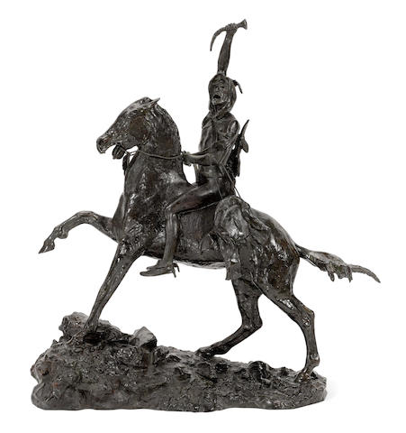 After Frederic Remington (1860-1909) The Scalp (Recast) 23in high (Cast in 1983.)