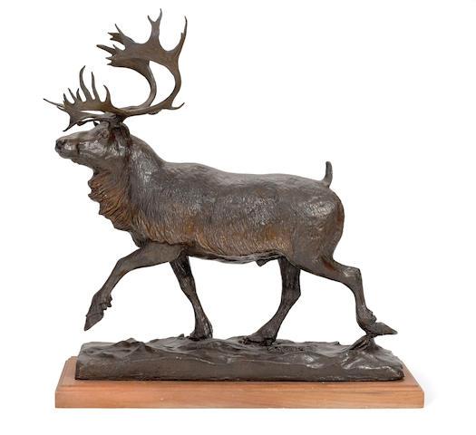 Bob Scriver (1914-1999) Caribou 26in high (Modeled in 1956.)