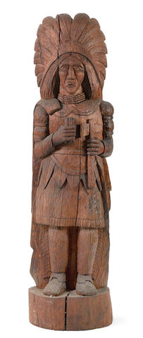 A CARVED PINE CIGAR STORE INDIAN, FIRST HALF 20TH CENTURY