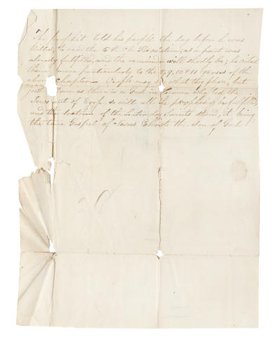 "LAST WORDS OF JOSEPH SMITH. ALLEY, GEORGE.  1792-1859.  Autograph Letter Signed (""A.B. George Alley"") to his brother Joseph regarding the death of Joseph Smith at Nauvoo,"