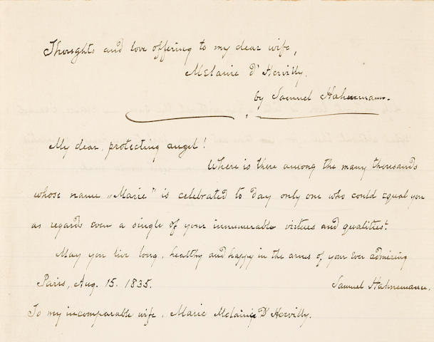 "HAHNEMANN, SAMUEL. 1755-1843. Autograph Letter Signed (""Samuel Hahnemann""), to his new wife, Melanie d'Hervilly [Hahnemann], being thoughts and expressions on the nature of love,"