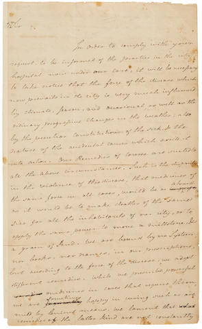 """RUSH, BENJAMIN. 1745-1813. Autograph Letter Signed (""""Benjn Rush""""), and by Philip Syng Physick (""""Philip S. Physick""""), describing the conditions for treatment of Yellow Fever during the epidemic,"""