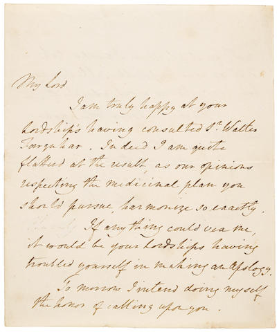 """JENNER, EDWARD. 1749-1823.  Autograph Letter Signed (""""Edwd. Jenner"""") to an unidentified correspondent (""""My Lord"""") applauding him for seeking a second opinion,"""