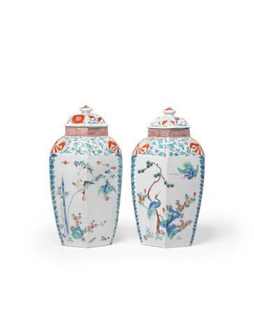 "An important pair of porcelain ""Hampton Court"" jars and covers Arita ware, Kakiemon type, Edo period (1615-1868), 1670-1690"