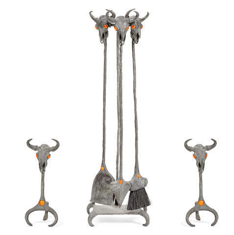 Tracy Beeler (born 1958) Six piece fireplace tool set and pair of andirons approximately 36in high