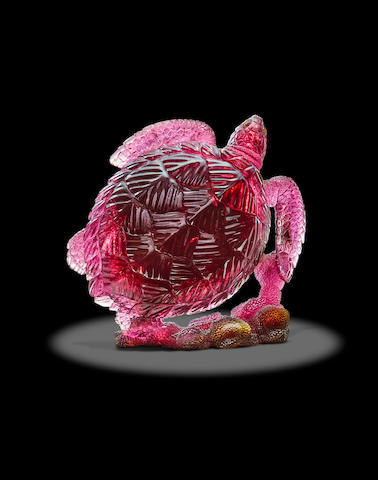 Rubellite Carving of a Swimming Sea Turtle by Gerd Dreher
