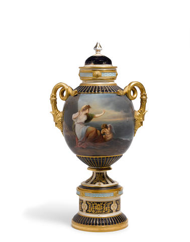 A Vienna style porcelain snake handled urn on stand with cover Fischer & Meig, 1875-1887