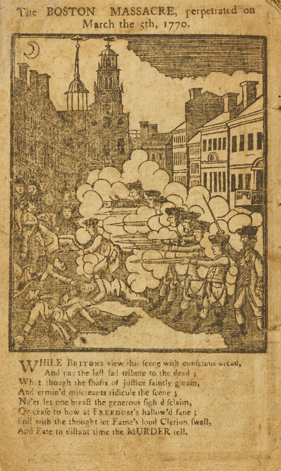 PAUL REVERE'S ENGRAVING OF THE BOSTON MASSACRE. REVERE, PAUL The Massachusetts Calendar, or an almanac for the Year of our Lord, 1772. Boston: Printed and Sold by Isaiah Thomas, et al, [1771].