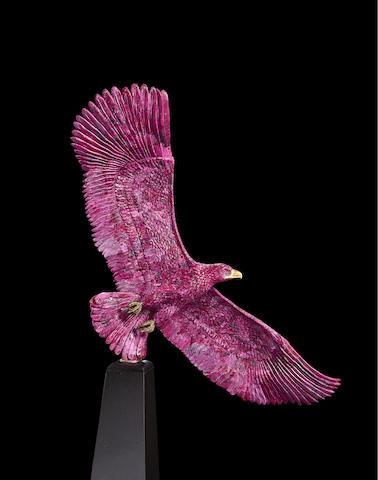 Impressive Ruby, Granite and Gold Eagle Sculpture by Luis Alberto Quispe Aparicio
