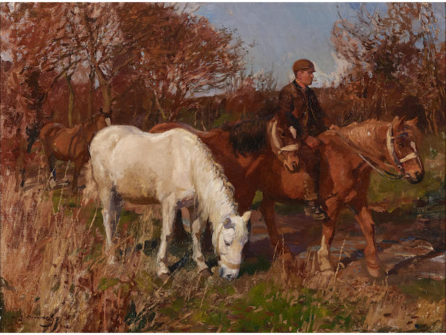 Sir Alfred James Munnings, P.R.A., R.W.S. (British, 1878-1959) Fred Gray - leading home 16 x 21 1/2in (40.7 x 54.6cm)