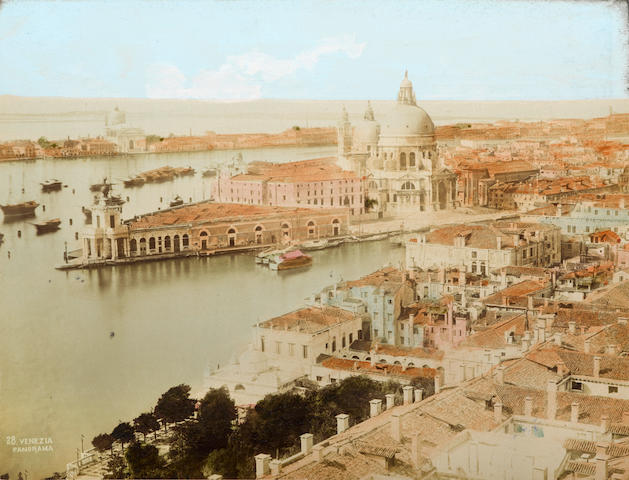 PHOTOGRAPHY: VENICE, 19TH CENTURY. NAYA, CARLO. 1816-1882. Album of 40 hand-colored albumen print photographs, each 240 x 184 mm laid down to 360 x 275 mm leaf, featuring images of Piazza San Marco, canals, bridges, palaces, and other landmarks,