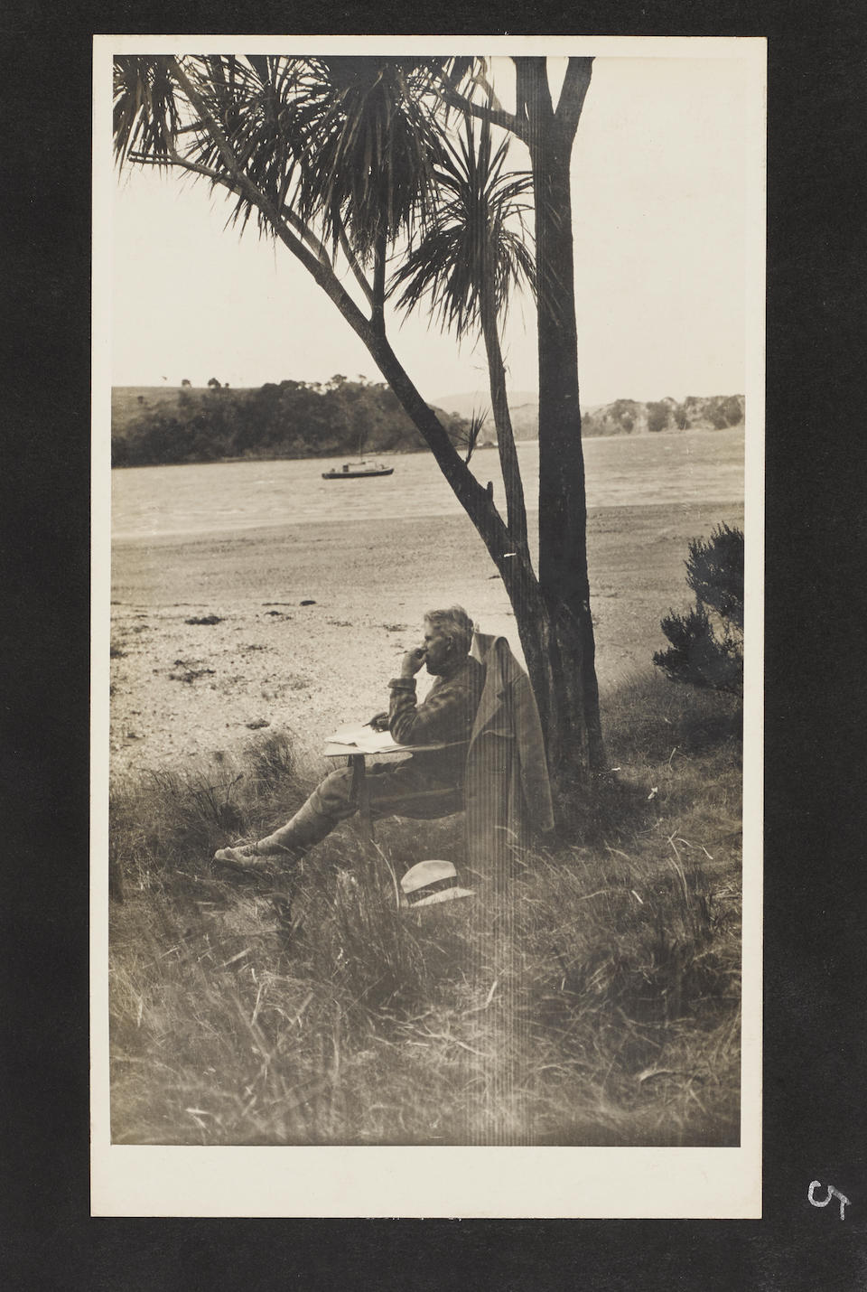 GREY, ZANE. 1872-1939. Photo album featuring 62 silver gelatin print photographs of Zane Grey and companions fishing for tuna in New Zealand, 1920s, each 221 x 128 mm, all mounted to 290 x 172 mm leaves,