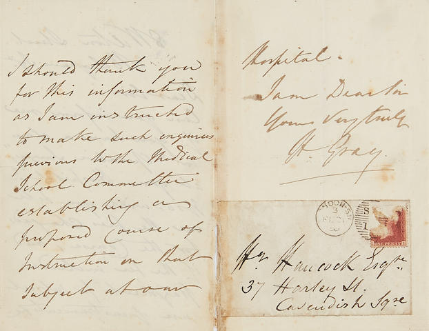 """GRAY, HENRY. 1826-1861.  Autograph Letter Signed (""""H. Gray"""") to Henry Hancock of King's College Hospital seeking information on class fees and structure,"""