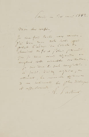 """PASTEUR, LOUIS. 1822-1895.  Autograph Letter Signed (""""L. Pasteur"""") to an unnamed colleague,"""
