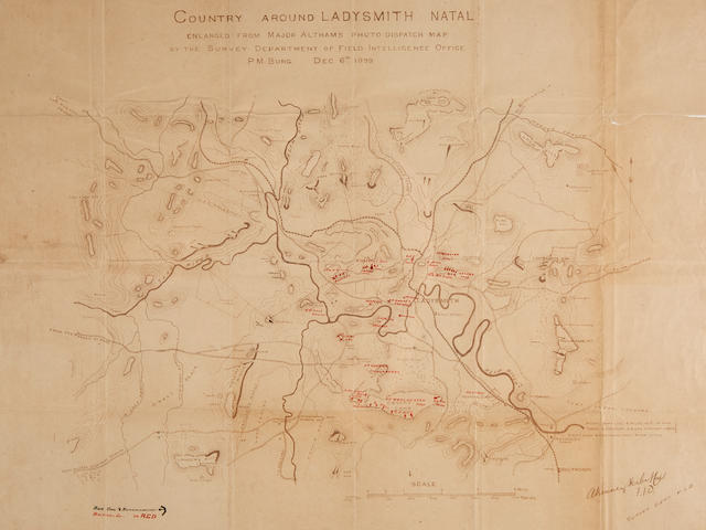 Siege of Ladysmith, Natal, Second Boer War. Herbert, A Kenney, Capt. Survey Department, Field Intelligence Division. Country around Ladysmith Natal enlarged from Major Althams photo dispatch map. P[ieter]m[arets]burg, December 6th 1899, with manuscript additions taken on the ground in Ladysmith, c.January 1900.