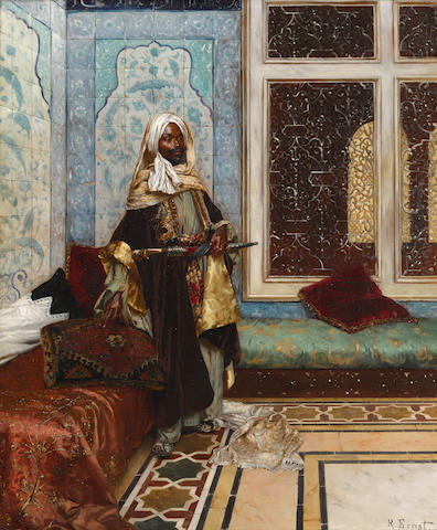 Rudolf Ernst (Austrian, 1854-1932) The palace guard (Awaiting an audience) 24 1/8 x 19 3/8in (61.3 x 49.3cm)