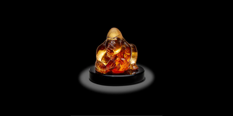 "Illuminated Citrine Sculpture of a Gorilla by Manfred Wild--""King Kong"""