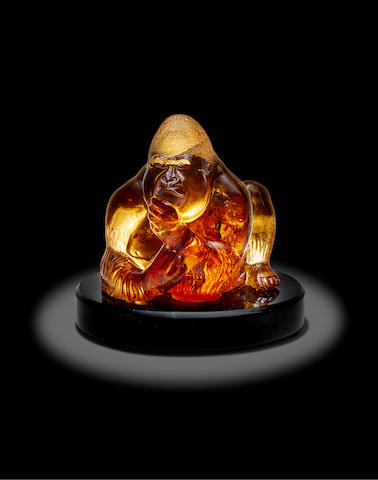 """Illuminated Citrine Sculpture of a Gorilla by Manfred Wild--""""King Kong"""""""