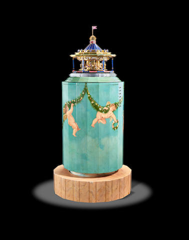 Magnificent Illuminated/Automated Musical Gemstone and Gold Carousel by Andreas von Zadora-Gerlof