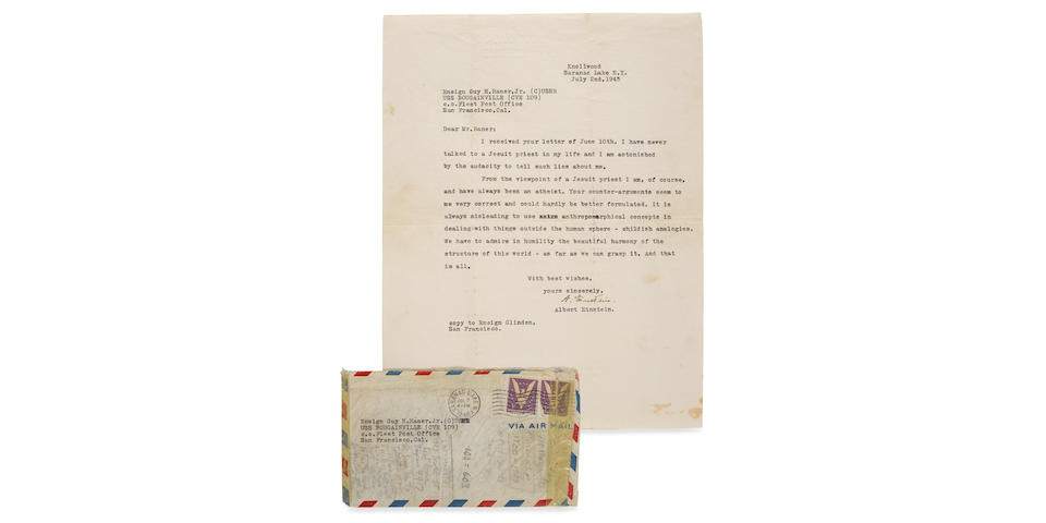 """EINSTEIN """"GOD LETTER"""" IN ENGLISH. EINSTEIN, ALBERT. 1879-1955. Typed Letter Signed (""""A. Einstein"""") to Guy Raner directly addressing the question of God's existence,"""