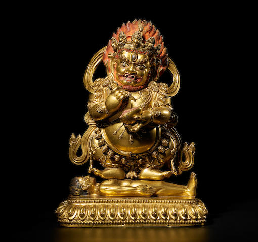 A GILT COPPER ALLOY FIGURE OF PANJARANATA MAHAKALA TIBET, CIRCA 17TH CENTURY