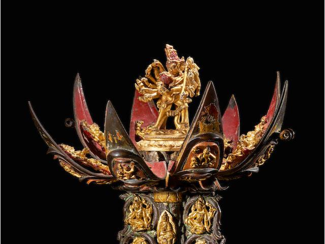 A POLYCHROMED COPPER ALLOY CHAKRASAMVARA MANDALA NORTHEASTERN INDIA AND CHINA, PALA AND QIANLONG PERIODS, QIANLONG MARK, 12TH AND 18TH CENTURY