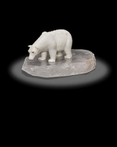 Dolomite Carving of a Polar Bear by Georg O. Wild