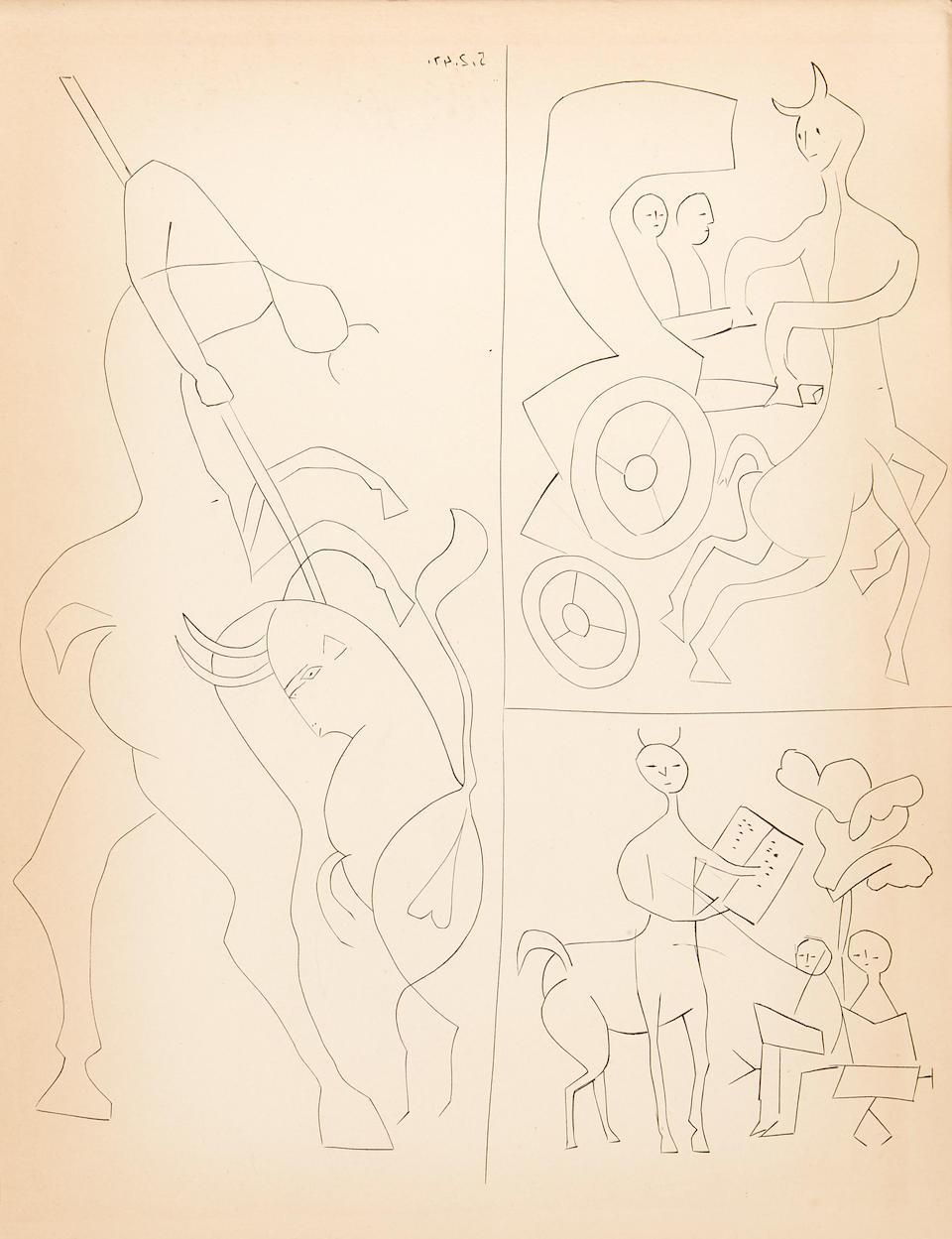 PICASSO, PABLO. 1881-1973. REVENTOS, RAMON. 1882-1923.  Dos Contes. El centaure Picador y El capvespre d'un faune. Paris and Barcelona: Editorial Albor, 1947.