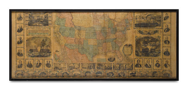 AN EXTRAORDINARILY LARGE MAP FEATURING A BEARDLESS LINCOLN. [Map of America with Historical Vignettes.] [N.P.: no publisher, 1860.]