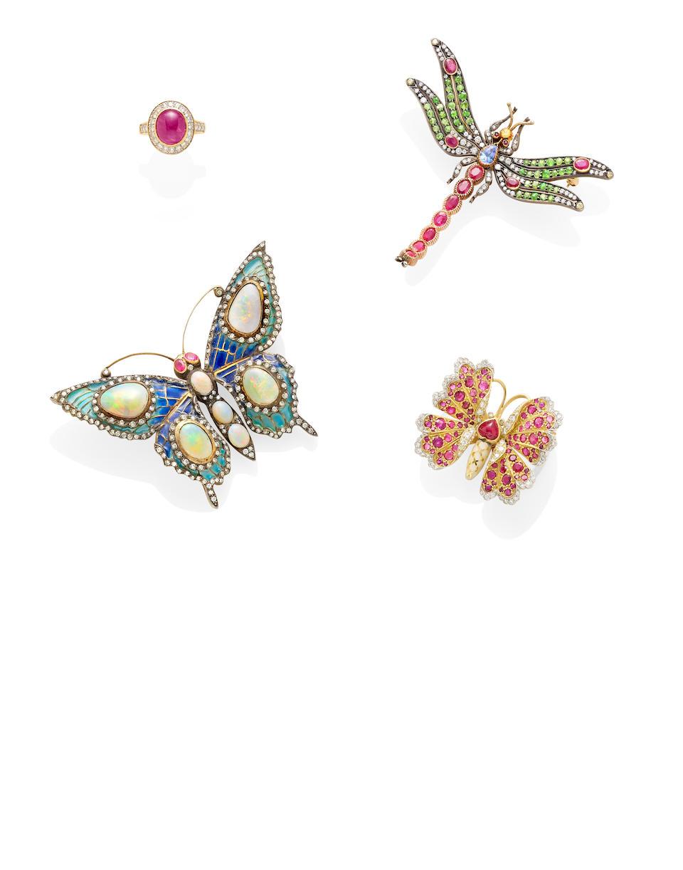 An opal, diamond, ruby, Plique-à-jour, silver and 18k gold butterfly brooch