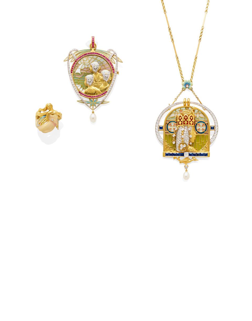 A Plique-à-jour enamel, diamond, sapphire and 18k gold brooch/pendant necklace, Masriera