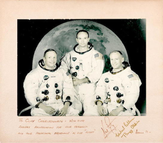 APOLLO 11 CREW-SIGNED PHOTO.