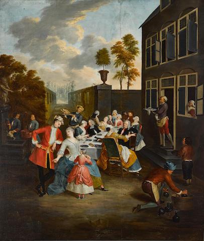 Jacques Bernaert (Flemish, 18th Century) The feast 71 1/2 x 61in (181.6 x 155cm)