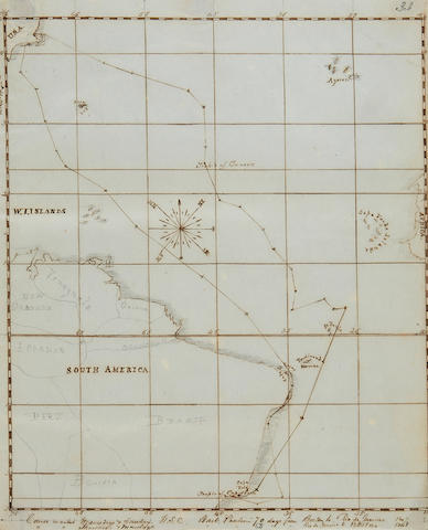 "PASSAGE FROM BOSTON TO RIO BY SHIP. Holograph Manuscript, titled ""Journal of a trip from Boston to Rio de Janeiro Bark Paulina 1847/8,"" 33 pp recto and verso, folio (315 x 195 mm),"