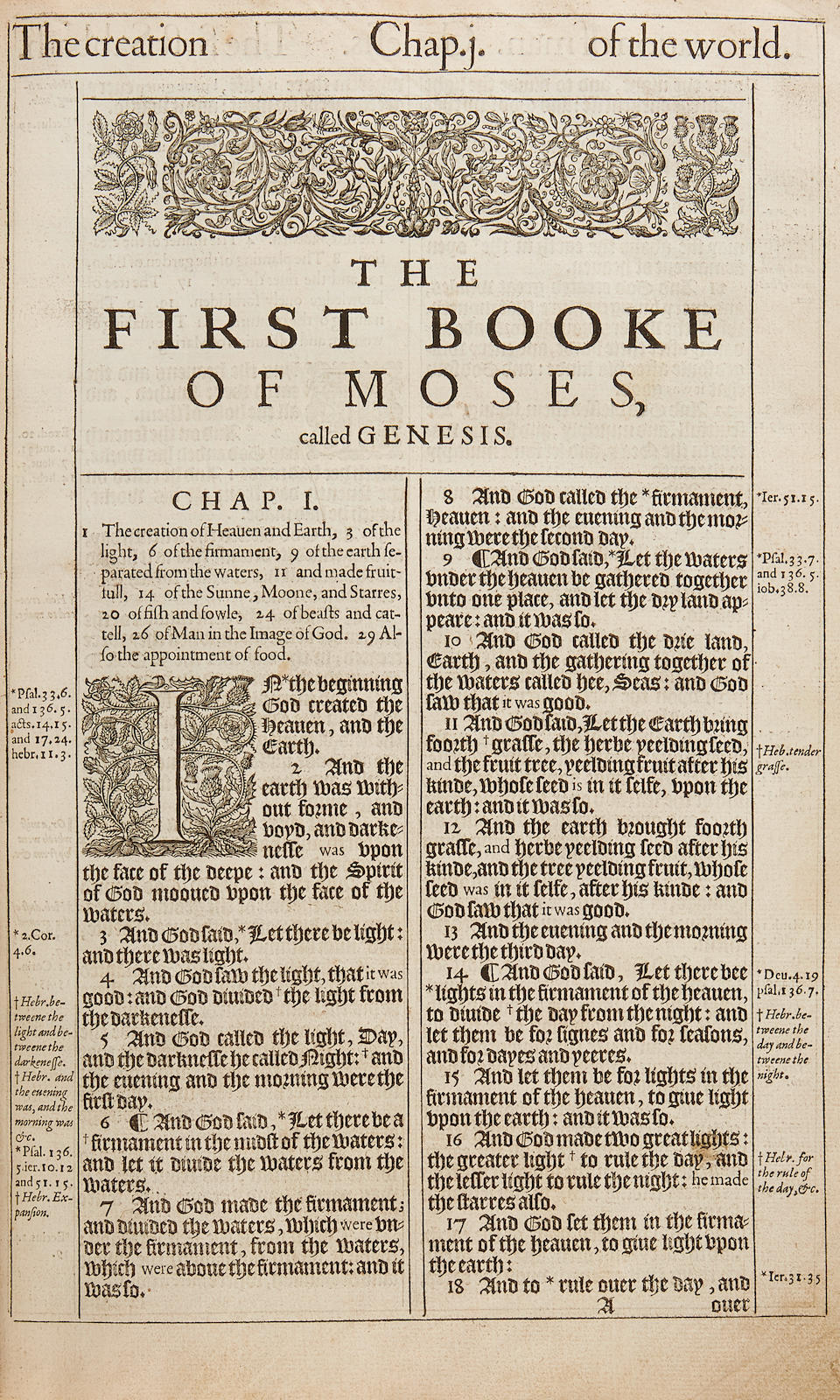 """KING JAMES """"HE"""" BIBLE. The Holy Bible, Conteyning the Old Testament, and the New. London: Robert Barker, 1611."""