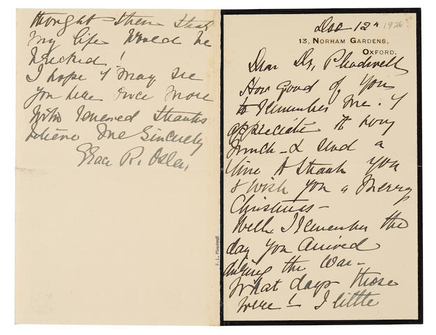 """OSLER, GRACE. 1854-1928. Autograph Letter Signed (""""Grace R. Osler"""") to Frank L. Pleadwell mourning her late husband,"""