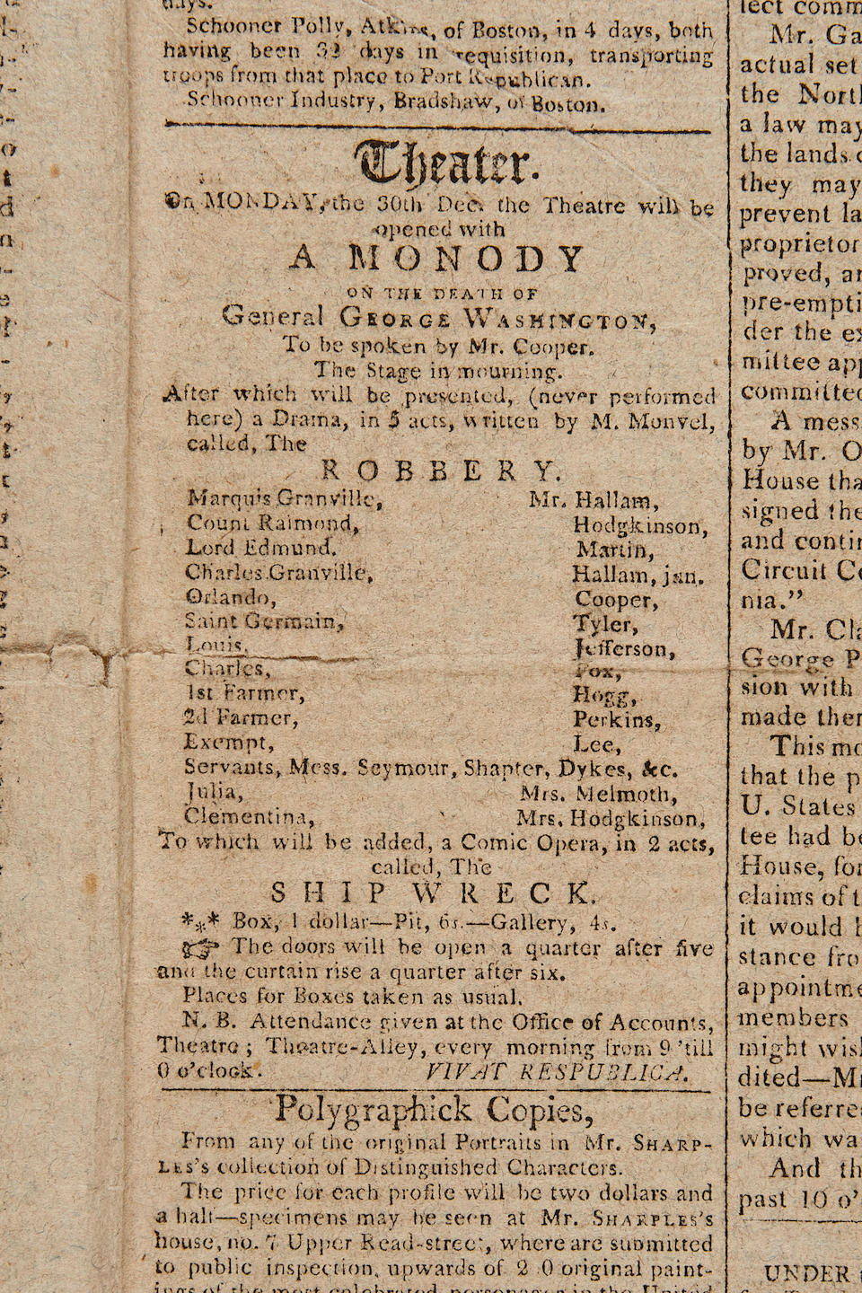 DETAILED ACCOUNT OF THE DEATH OF WASHINGTON. Commercial Advertiser, Vol III, No 691. New York: E. Belden & Co, December 27, 1799.